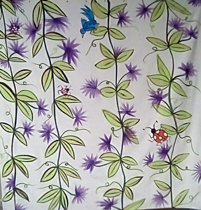 Vines  with blue bird & lady bug Shower Curtain!.
