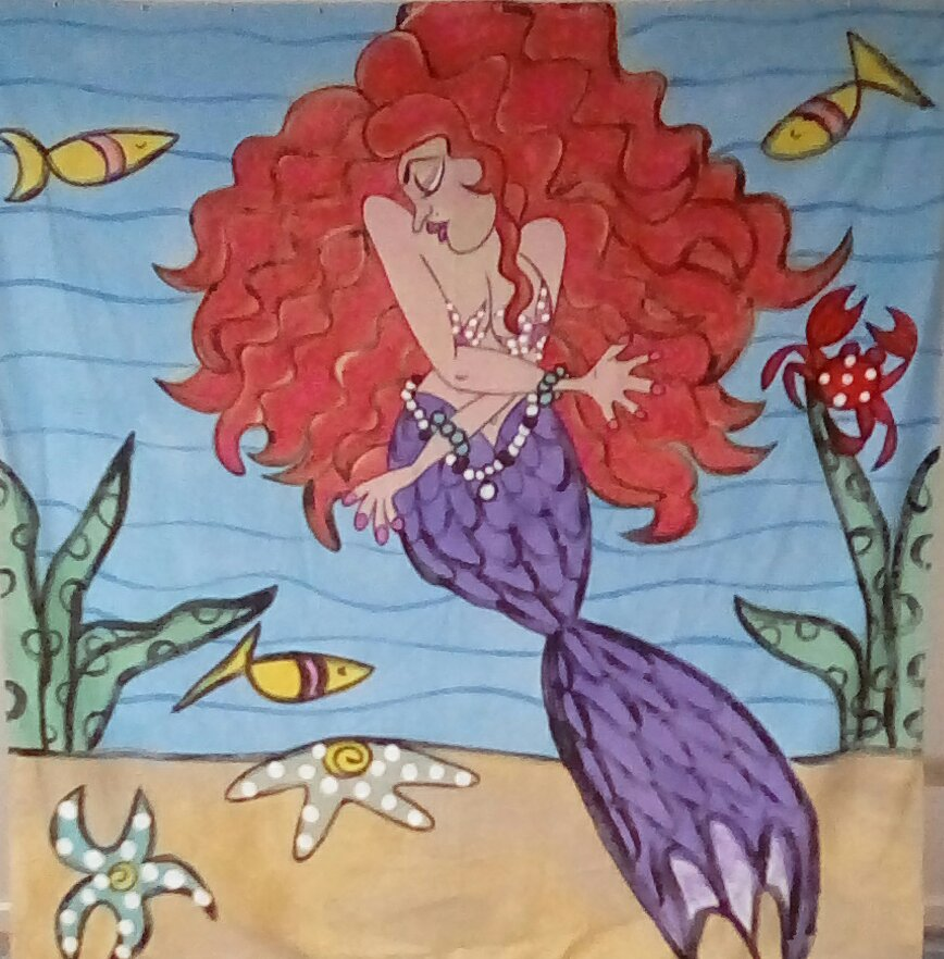 ON SALE! Red haired Mermaid shower curtain. Normally $95.
