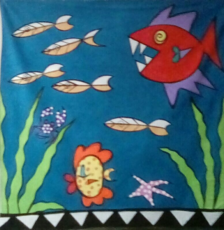 Red Biting Fish shower curtain