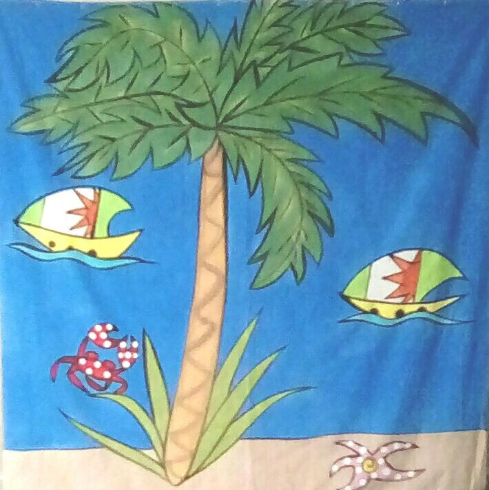 Palm Tree and Sailboats shower curtain